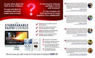 Pilgrim's Rock Unbreakable Faith Online Video Course Brochure Inside View